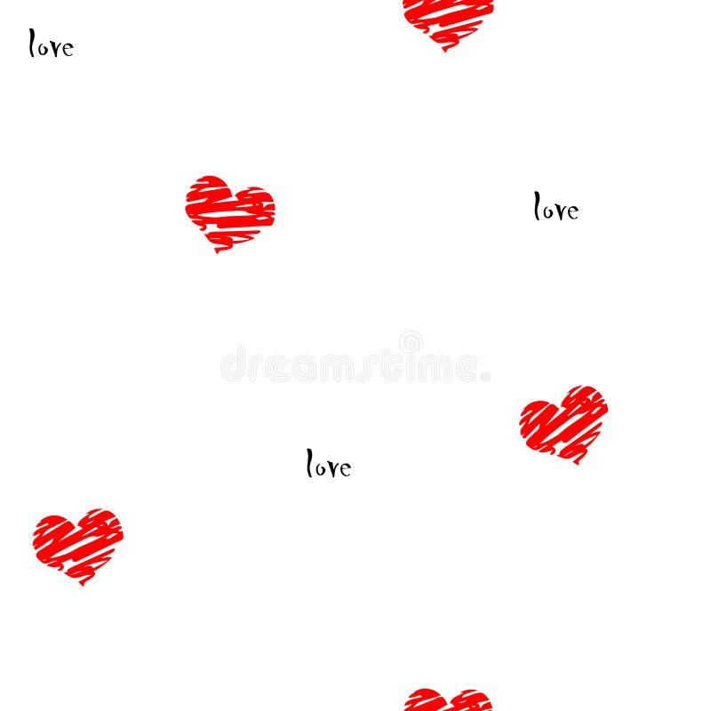 红线在白色背景的拉长的心脏以题字爱 库存图片