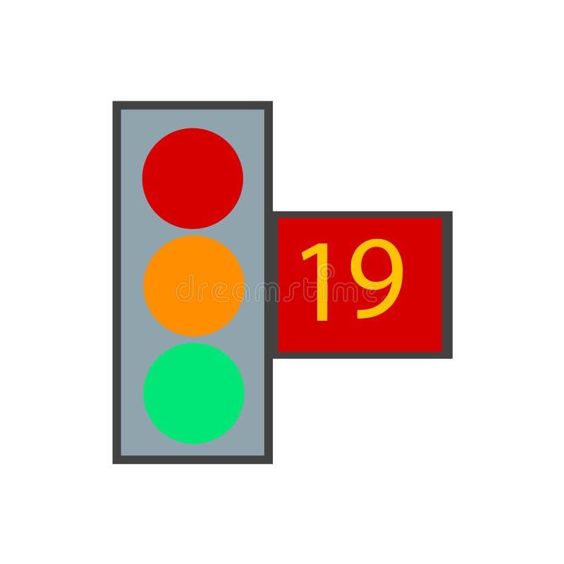 红绿灯象在白色背景和标志隔绝的传染媒介标志,红绿灯商标概念 库存例证