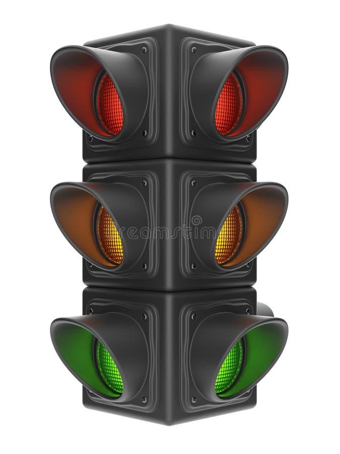 红绿灯3d。 查出在白色 皇族释放例证