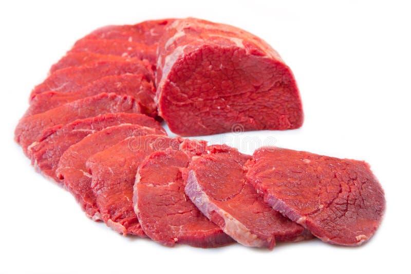 红肉大块和牛排被隔绝在白色背景 免版税库存照片