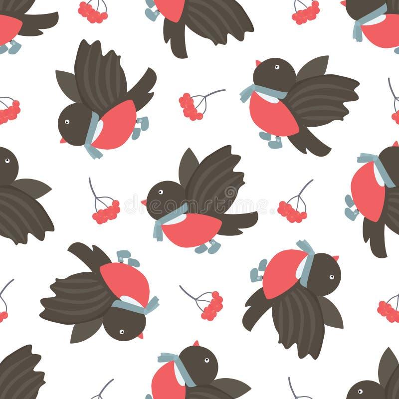 红腹灰雀和花揪 模式无缝的冬天 向量例证