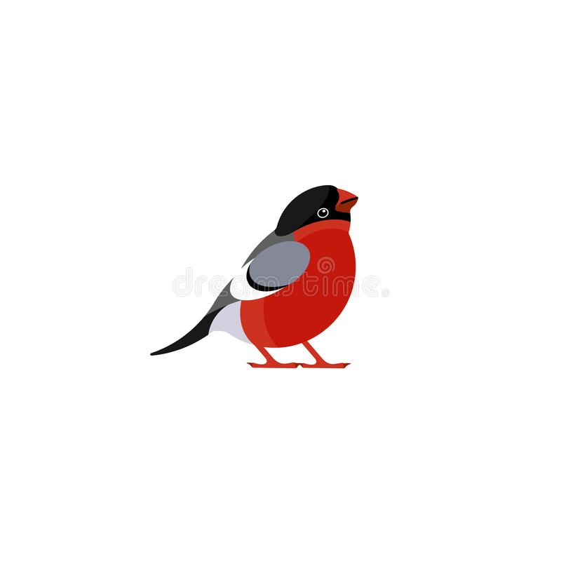 红腹灰雀逗人喜爱的动画片样式象  圣诞节和新年的滑稽的字符贺卡 向量例证