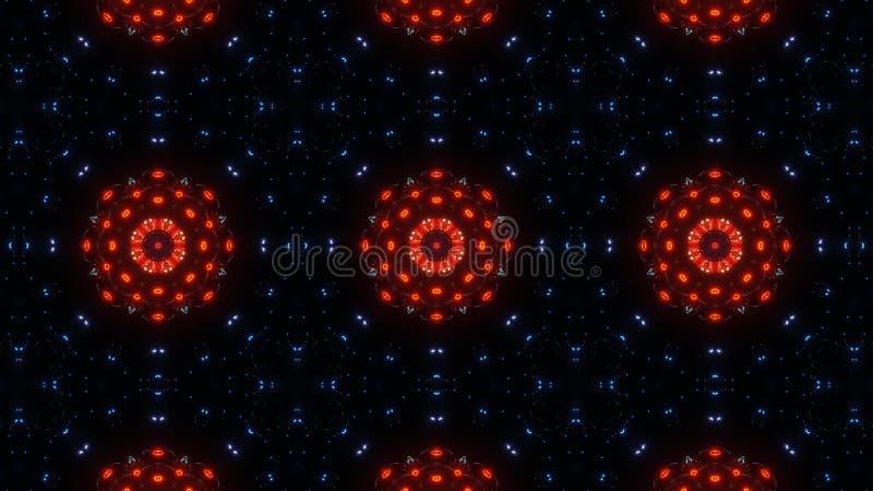 红色万花筒花 摘要坛场蓝色红色和发光 向量例证