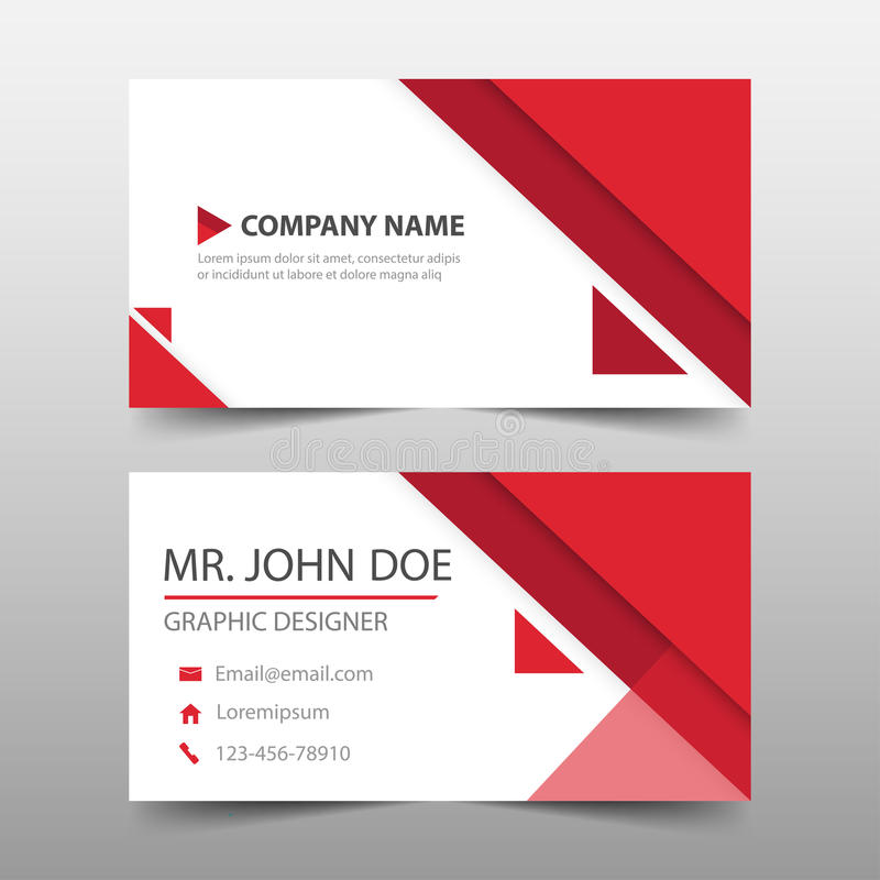 红色三角公司业务卡片,名片模板,水平的简单的干净的布局设计模板,企业横幅 向量例证