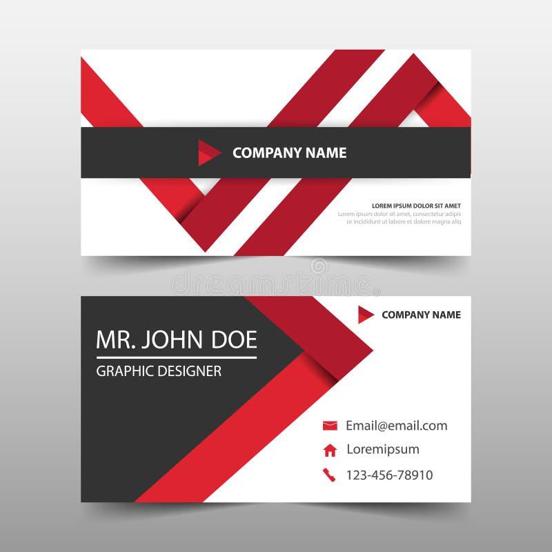 红色三角公司业务卡片,名片模板,水平的简单的干净的布局设计模板,横幅模板 向量例证