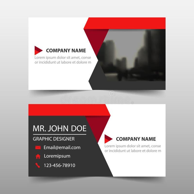 红色三角公司业务卡片,名片模板,水平的简单的干净的布局设计模板,横幅模板 皇族释放例证