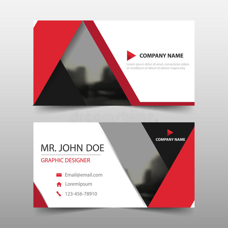 红色三角公司业务卡片,名片模板,水平的简单的干净的布局设计模板 皇族释放例证