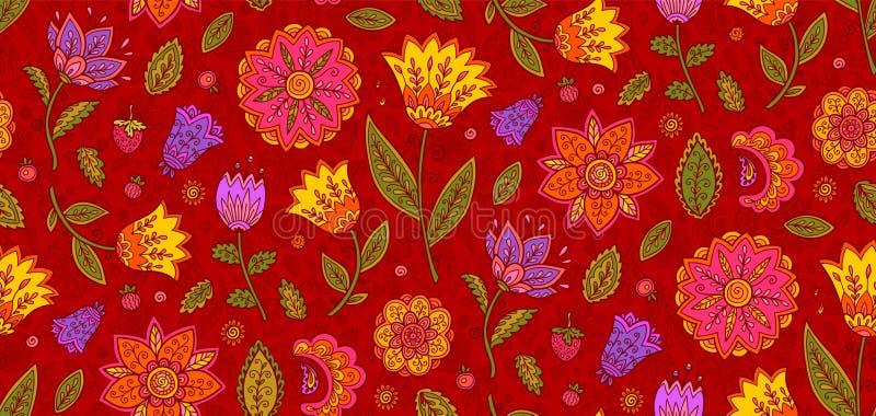 红色与五颜六色的华丽花的传染媒介花卉纺织品无缝的样式在葡萄酒样式 库存例证