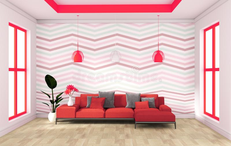 红色与沙发餐具柜的墙壁现代设计在木地板内部 3d?? 库存例证