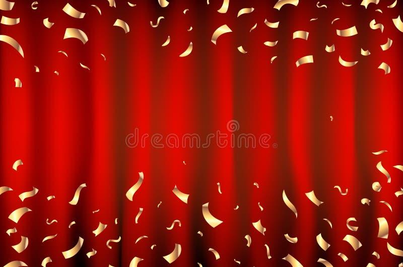 红色与流星的帷幕金黄五彩纸屑精采背景 向量 艺术 向量例证