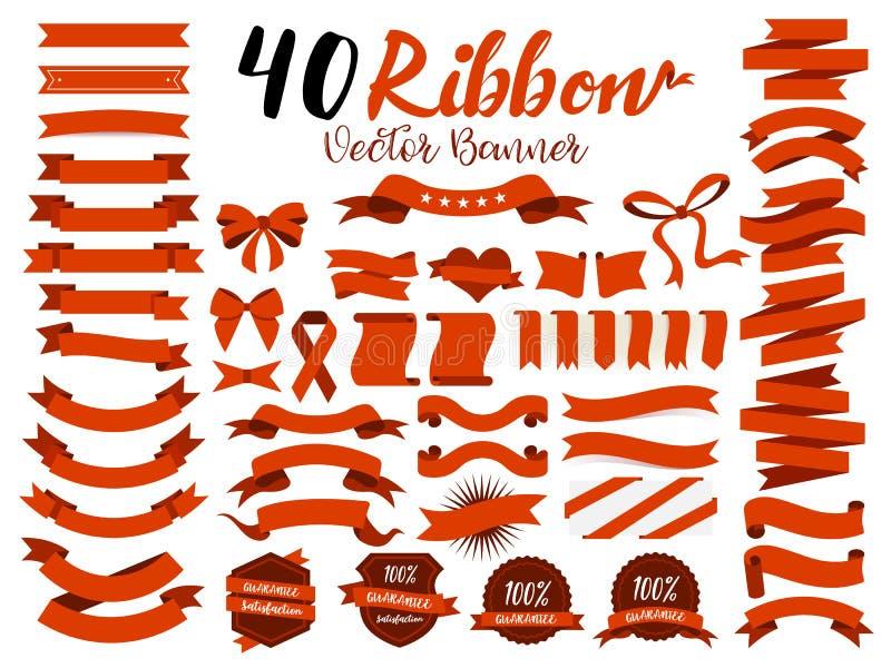 40红色丝带与平的设计的传染媒介例证 包括图表元素作为减速火箭的徽章,保证标签,销售标记, discou 皇族释放例证