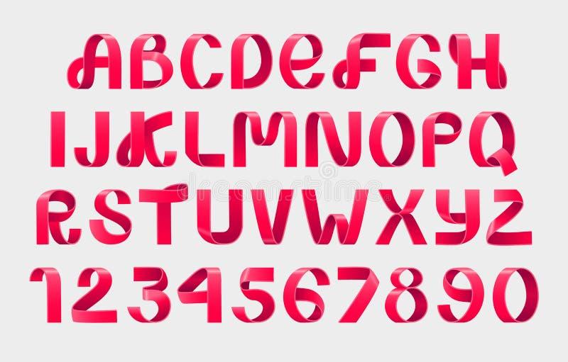 红色丝带剧本字体 向量例证