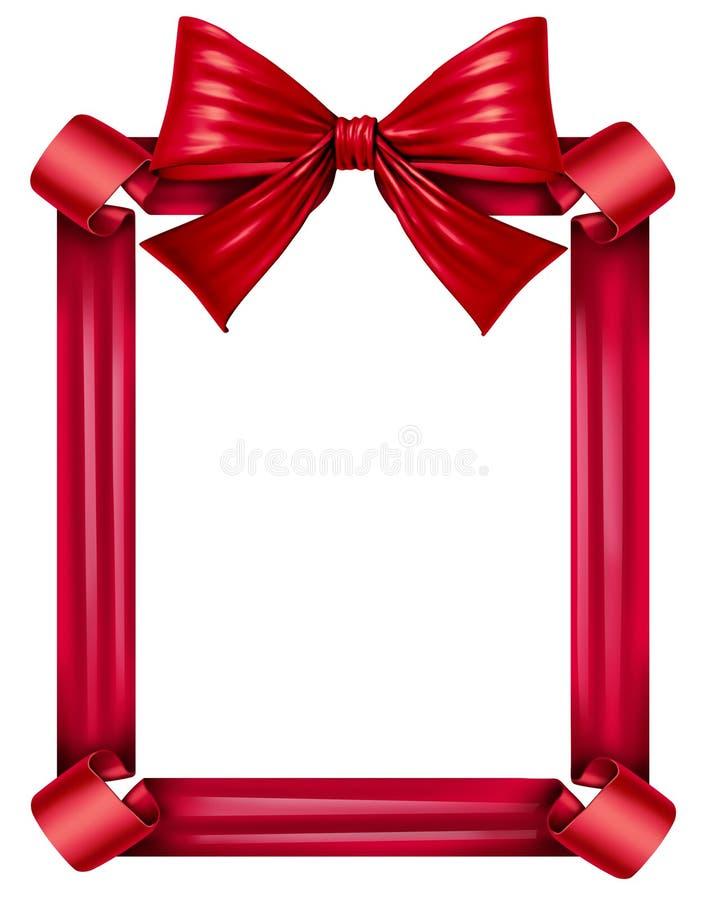红色丝带和弓框架 向量例证