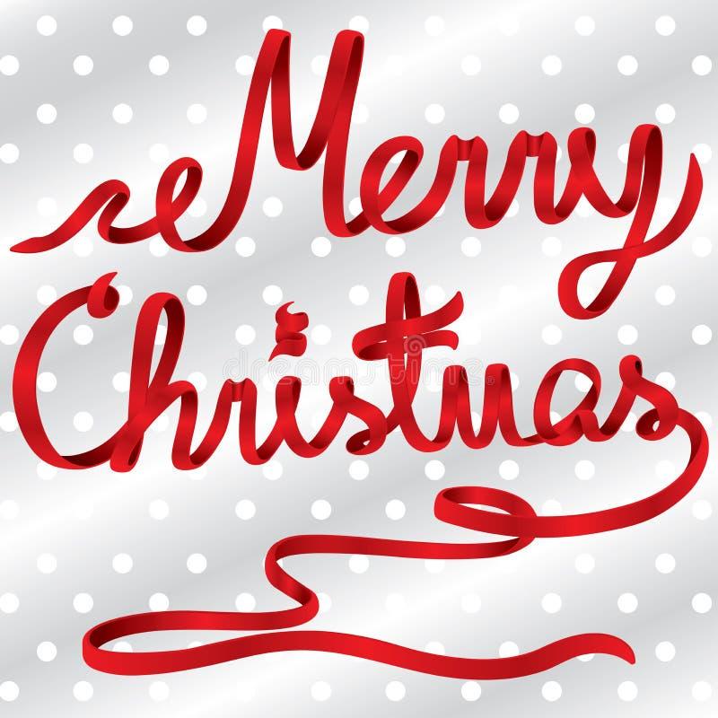 红色丝带圣诞快乐传染媒介 免版税库存图片