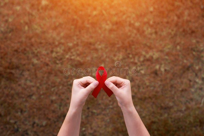红色丝带在世界艾滋病日概念的妇女手上 免版税图库摄影