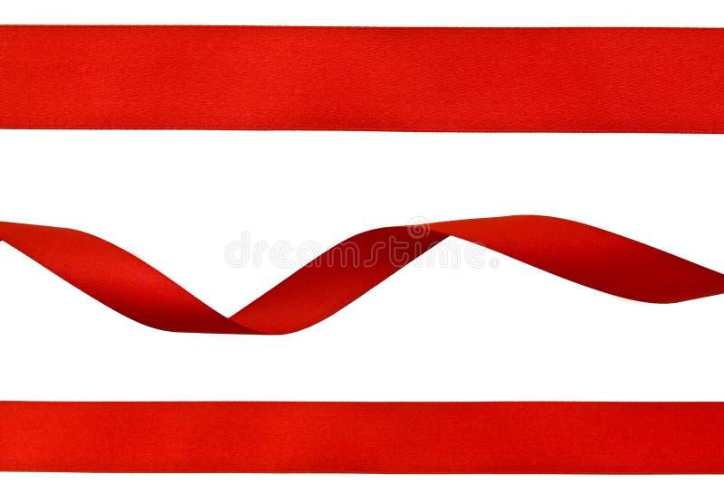 红色丝带设置了 图库摄影
