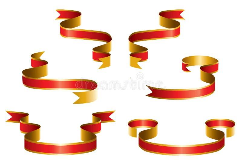 红色丝带集 向量例证