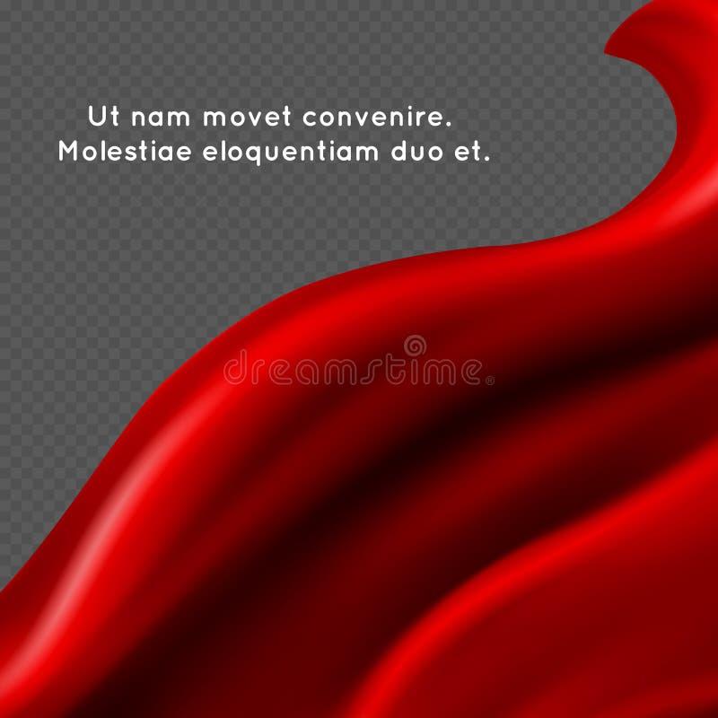 红色丝织物abstact传染媒介背景-纺织品横幅设计 皇族释放例证