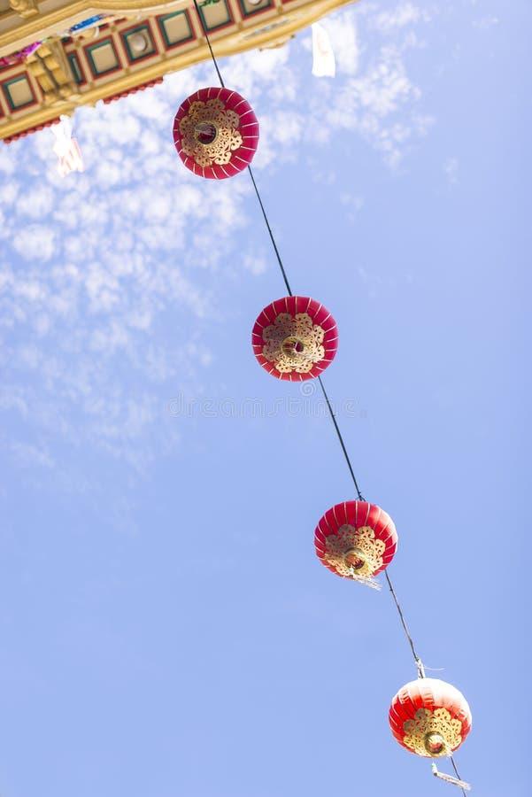 红色中国灯笼在旧金山唐人街  免版税库存照片