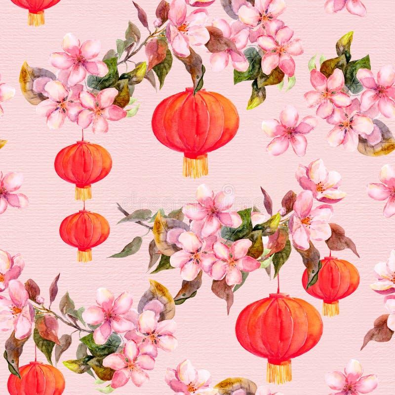 红色中国灯笼,春天开花花 无缝的模式 水彩 库存例证