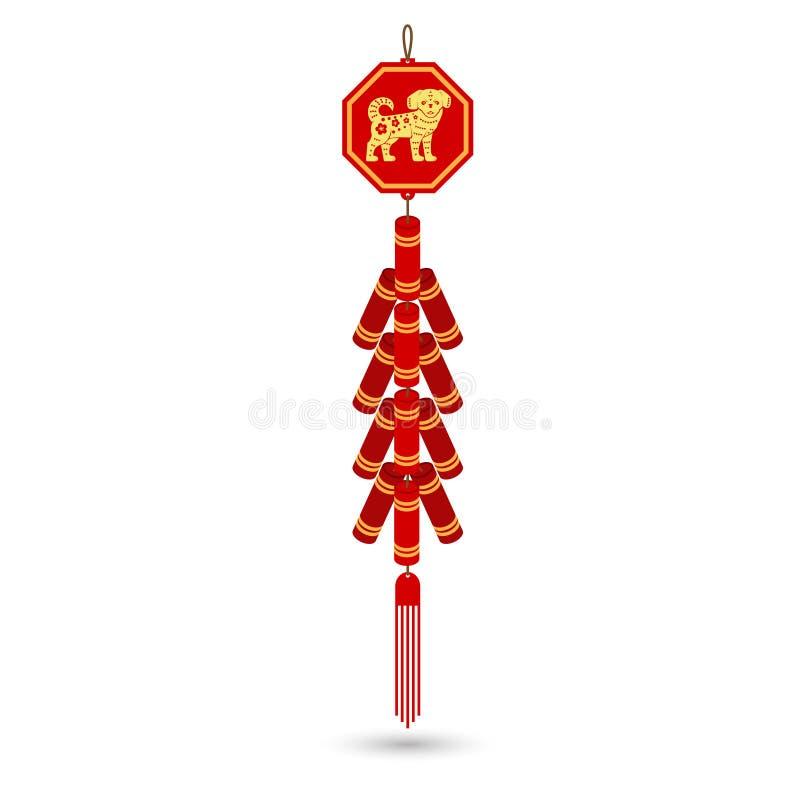 红色中国爆竹平的象 库存例证
