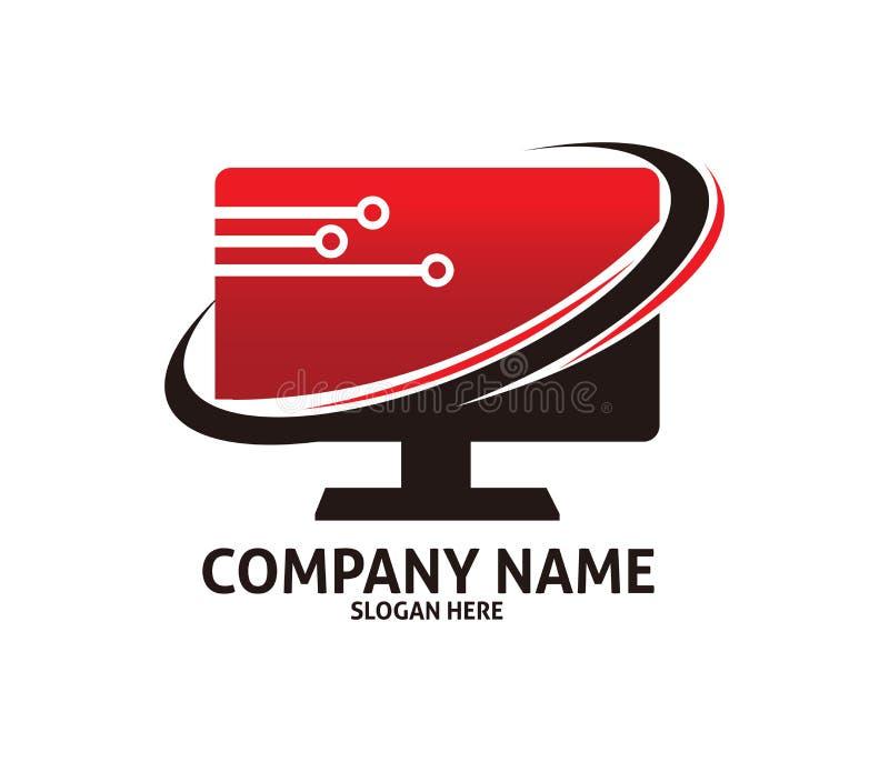 红色中心计算机维护技术传染媒介商标设计 向量例证