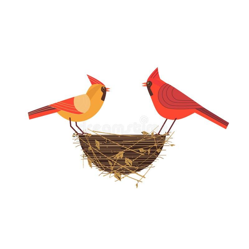 红色主要鸟夫妇 皇族释放例证