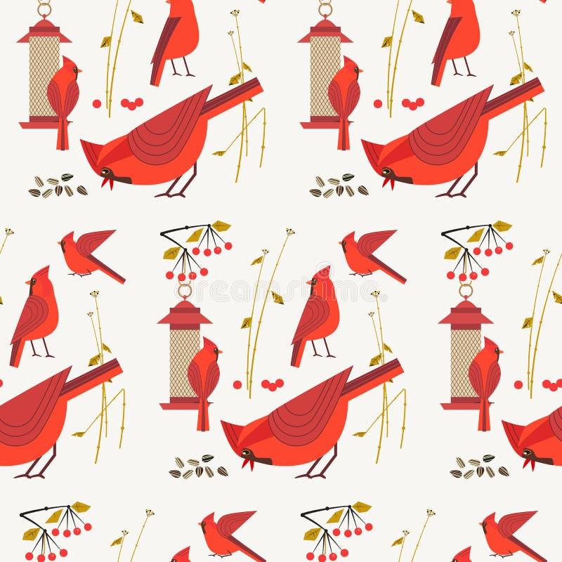 红色主要鸟样式 库存例证
