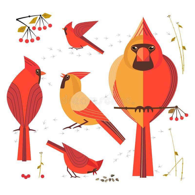 红色主要鸟象集合 皇族释放例证