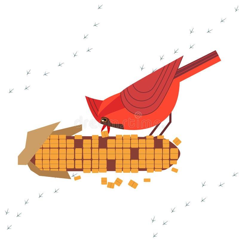 红色主要鸟象 向量例证