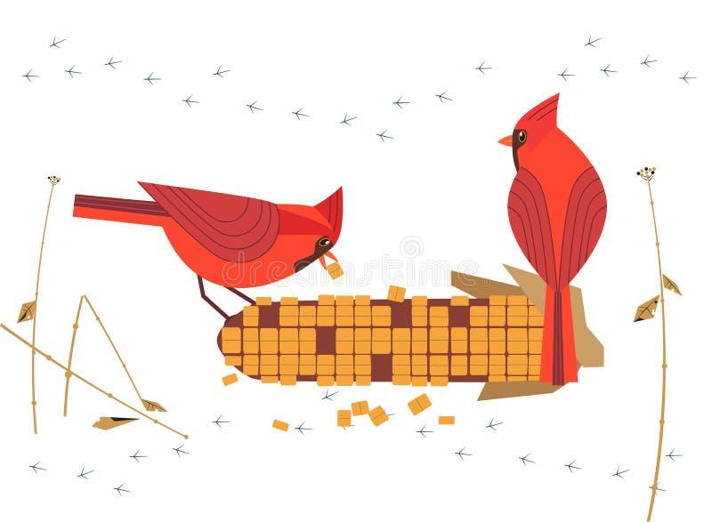 红色主要鸟象 皇族释放例证