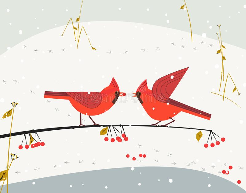 红色主要鸟集合 向量例证