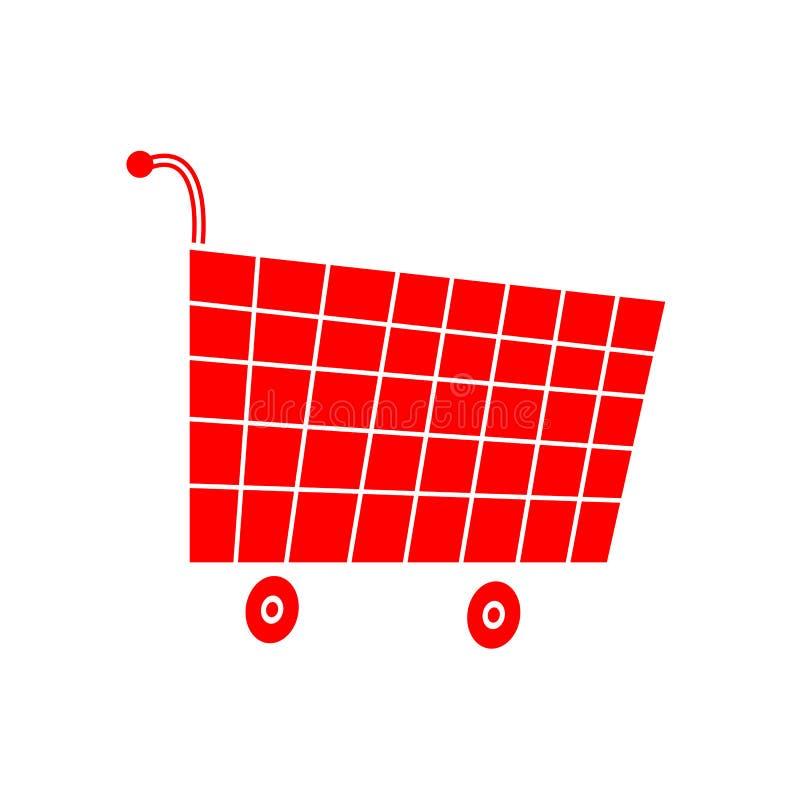 红色乐趣超级市场推车平的象 库存图片
