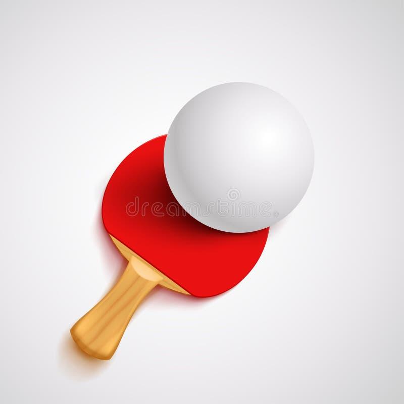 红色乒乓球球拍 皇族释放例证