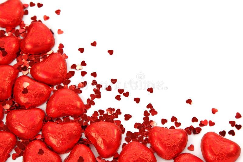 红色五彩纸屑的重点 库存图片