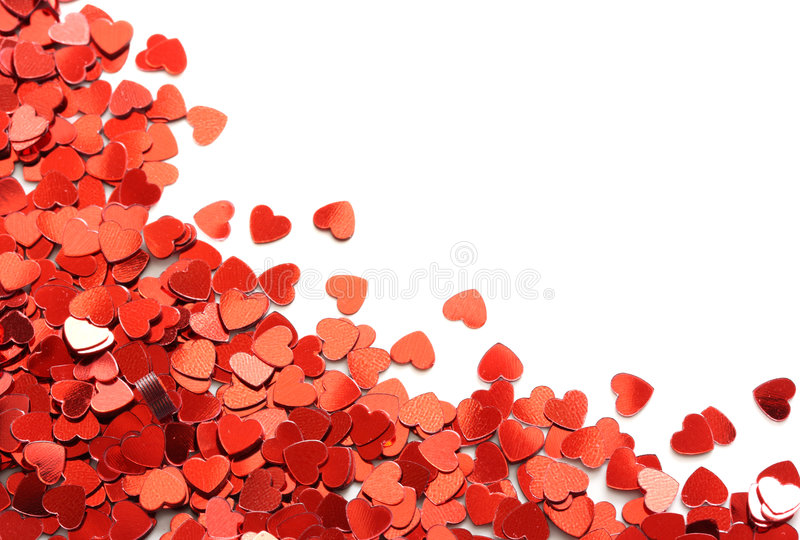 红色五彩纸屑的重点 库存照片