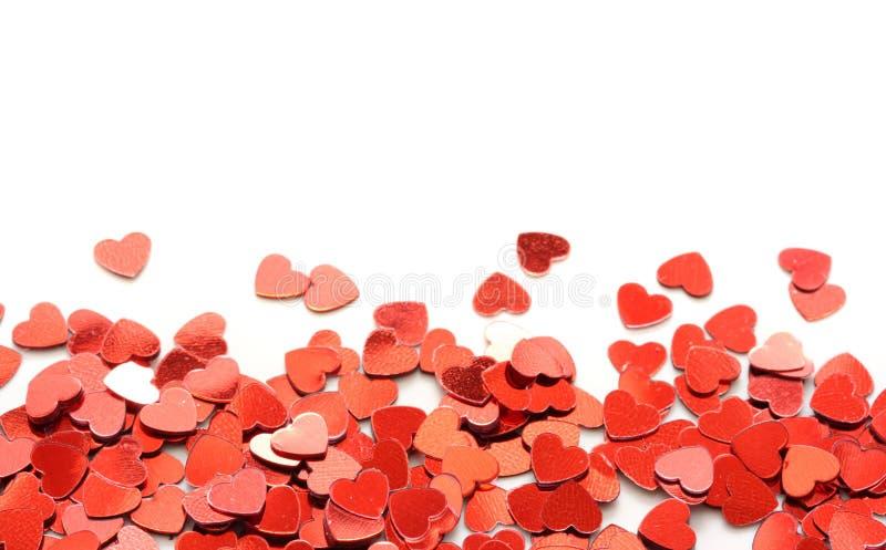 红色五彩纸屑的重点 免版税库存图片