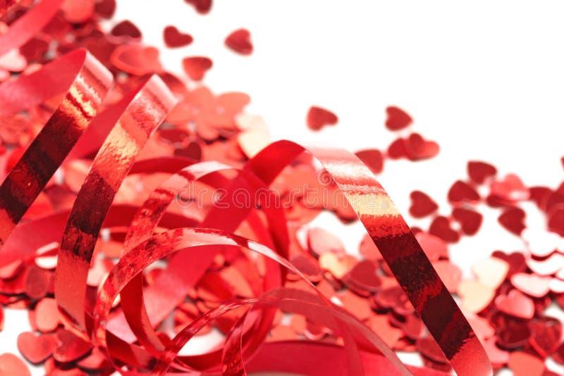 红色五彩纸屑的重点 免版税图库摄影