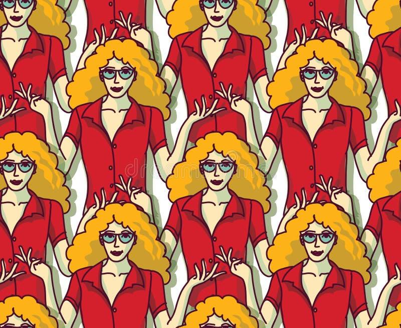 红色人群颜色无缝的样式的白肤金发的俏丽的妇女 库存例证