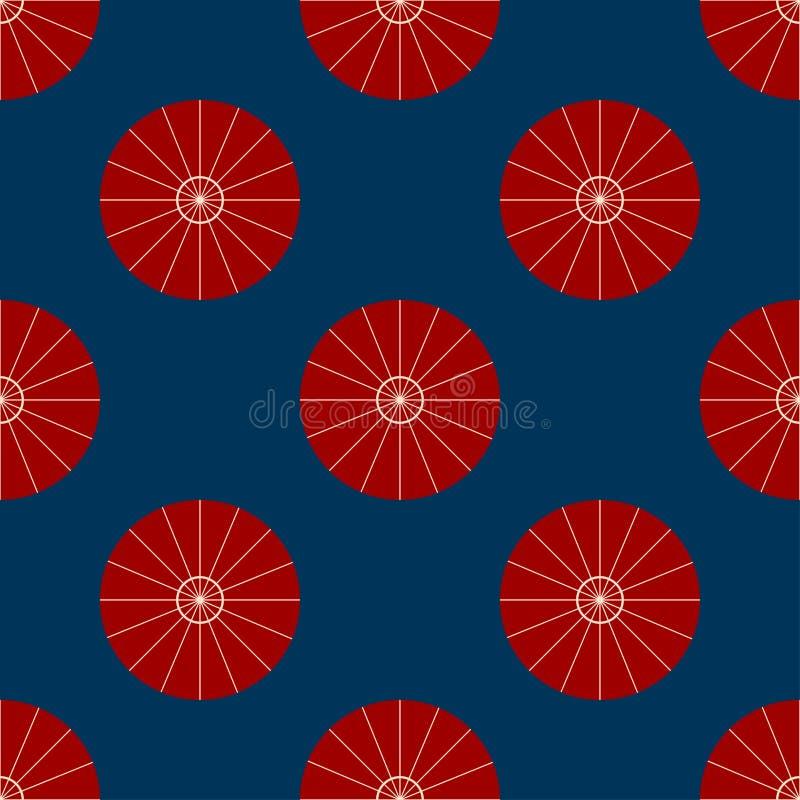红色伞顶视图传染媒介例证 遮阳伞平的标志无缝在靛蓝色背景 皇族释放例证