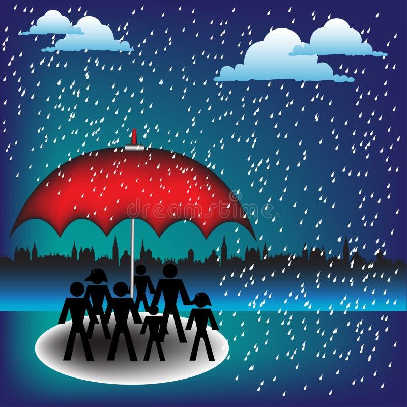 红色伞 皇族释放例证