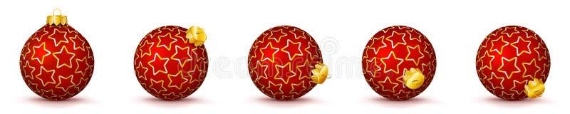 红色传染媒介圣诞节球设置与纹理- X-Mas中看不中用的物品 向量例证