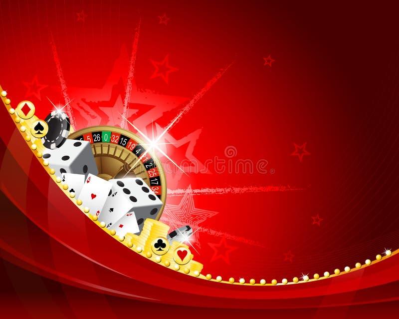 红色传染媒介挥动的赌博娱乐场背景设计 库存例证