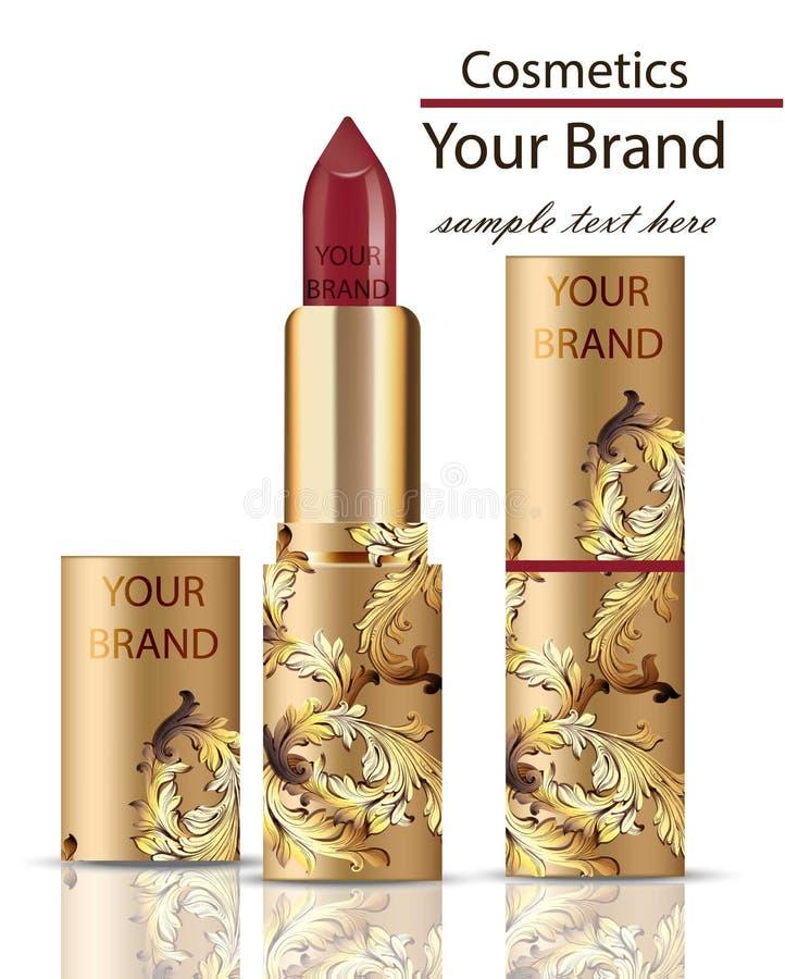 红色传染媒介的唇膏化妆用品现实嘲笑 与装饰品装饰的马特lipgloss,金黄包装的原始的设计 金子颜色 向量例证