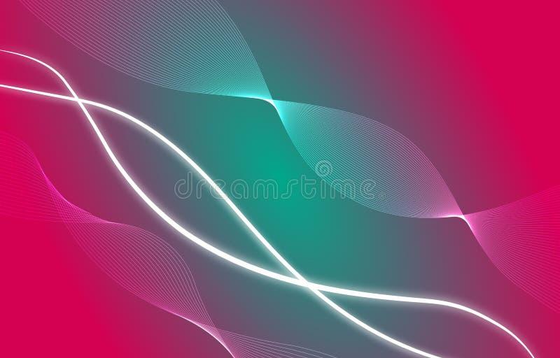 红色传染媒介的摘要,绿色,白色波浪混合设计,背景 库存例证