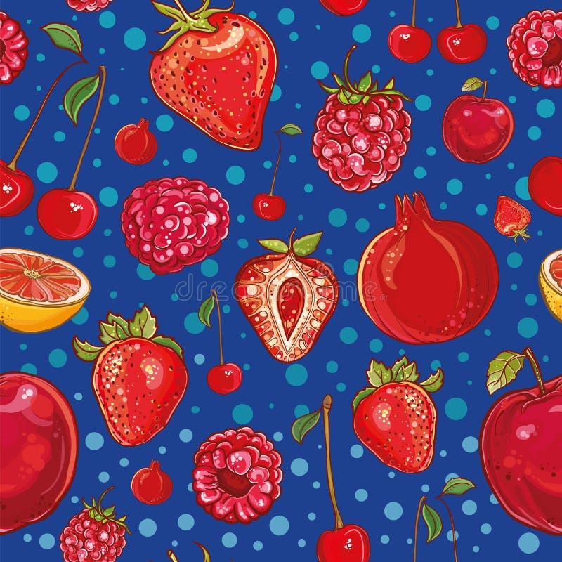 红色传染媒介样式用果子和莓果 向量例证