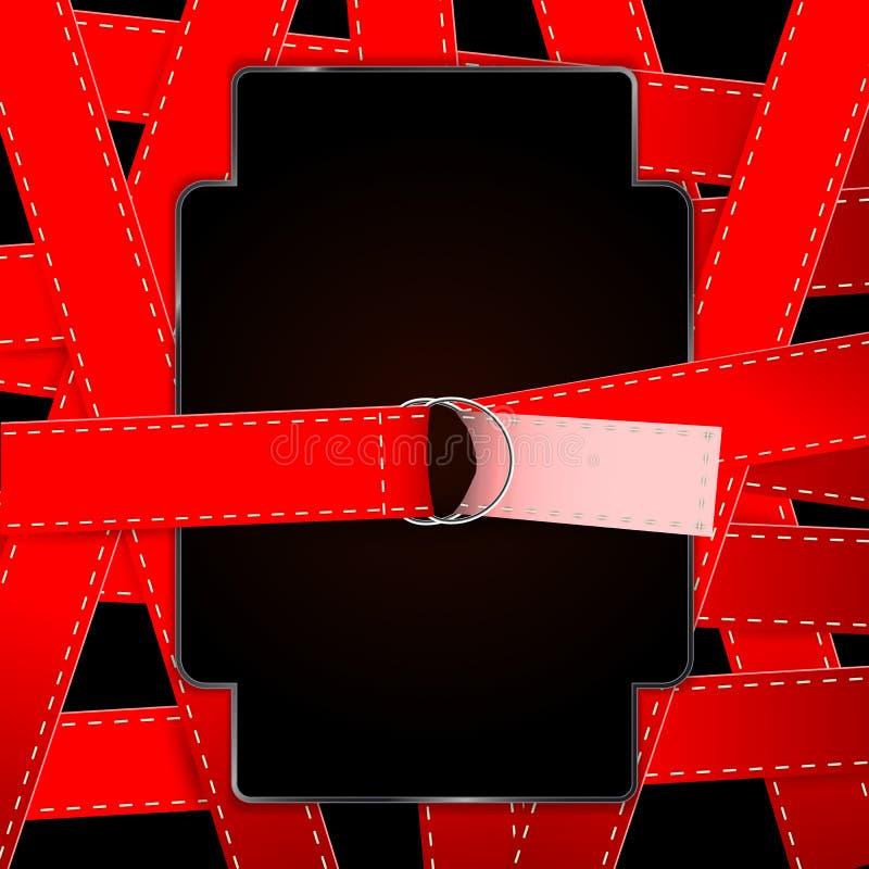 红色传送带过去白色螺纹设计,辫子 皇族释放例证