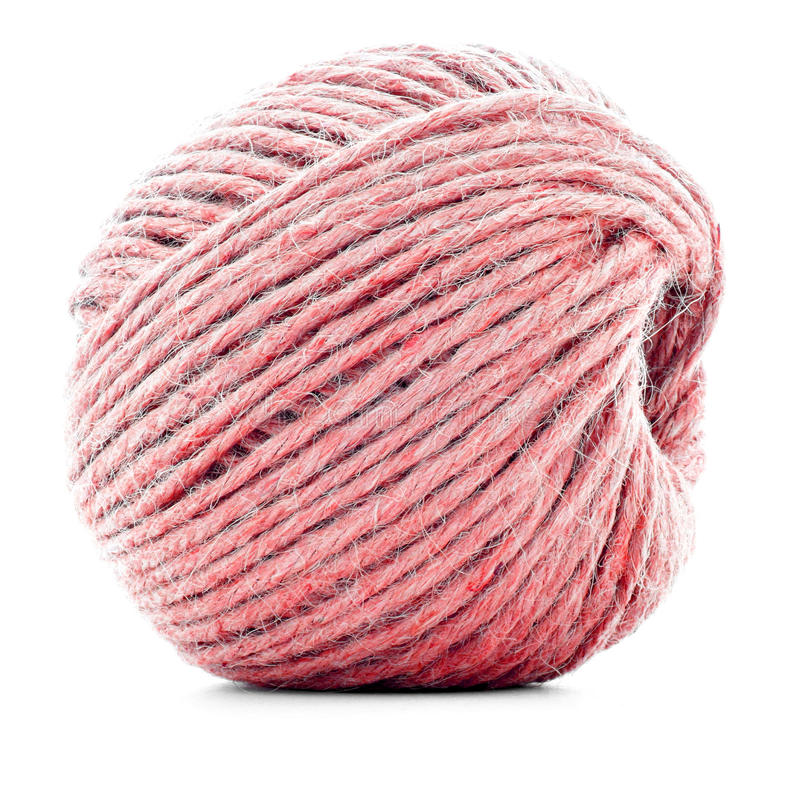 红色传统线团,在白色背景隔绝的缝合针线卷 免版税库存照片