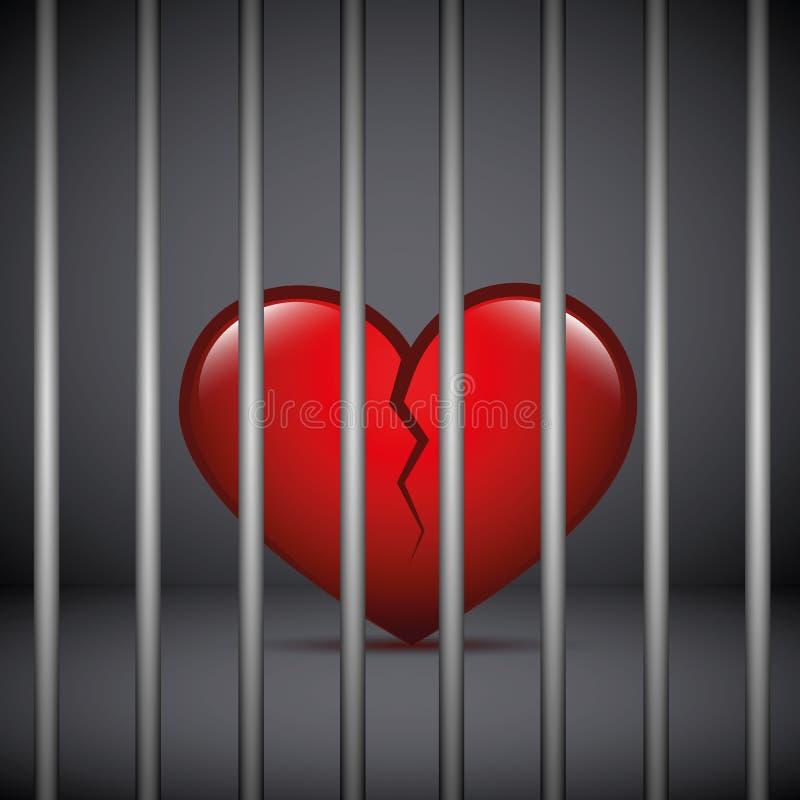 红色伤心在黑暗的背景的一所监狱 向量例证