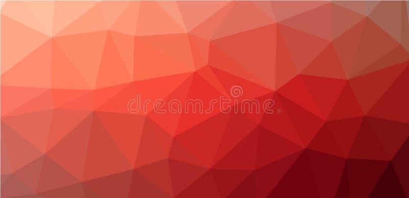 红色低多角形背景 库存例证